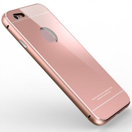 Aluminum Metal bumper with Tempered glass Back Plate Cover Case for iPhone 6/6S 4.7inch - Rose Gold