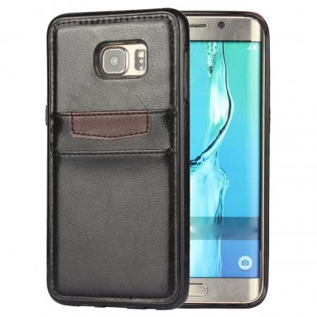 Back Card Slot PU Leather Coated Case Cover for Samsung Galaxy S6 Edge+ - Black
