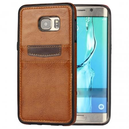 Back Card Slot PU Leather Coated Case Cover for Samsung Galaxy S6 Edge+ - Brown