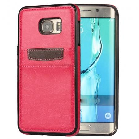 Back Card Slot PU Leather Coated Case Cover for Samsung Galaxy S6 Edge+ - Rose Red