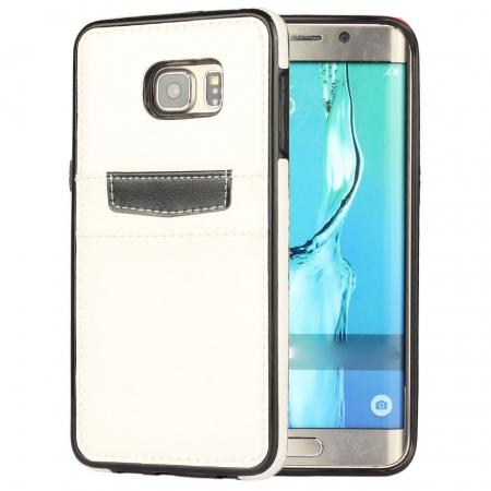 Back Card Slot PU Leather Coated Case Cover for Samsung Galaxy S6 Edge+ - White