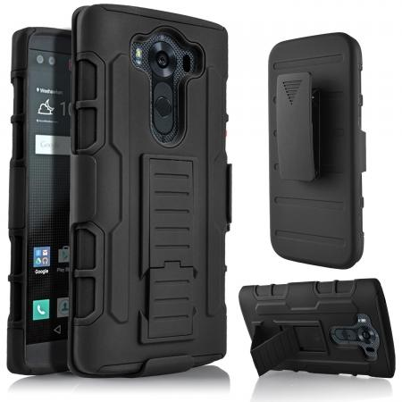 Dual Layers Hybird Case with Kickstand and Swivel Belt Clip For LG V10/G4 PRO