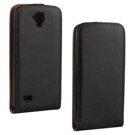 Luxury 100% Genuine Real Leather Vertical Flip Case Cover for Huawei Y560 - Black