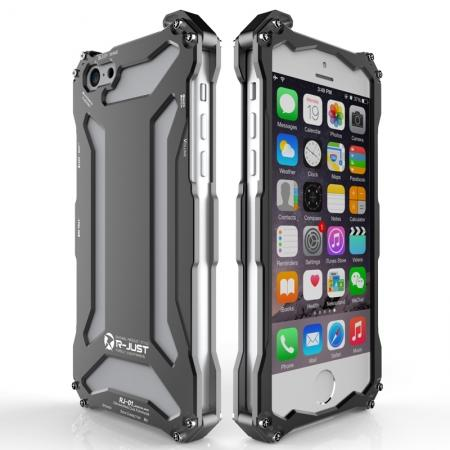 Original R-JUST Aluminum Metal Shockproof Frame Case For iPhone SE/5/5S - Black