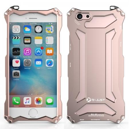 Original R-JUST Aluminum Metal Shockproof Frame Case For iPhone 6S/6 4.7inch - Rose gold