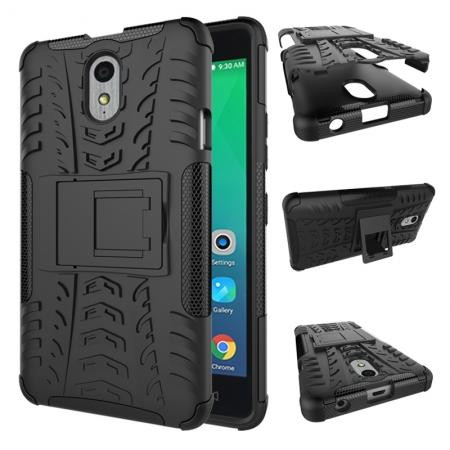 Heavy Duty Protection Rugged Dual Layer Hybrid Shockproof Case For Lenovo P1M - Black