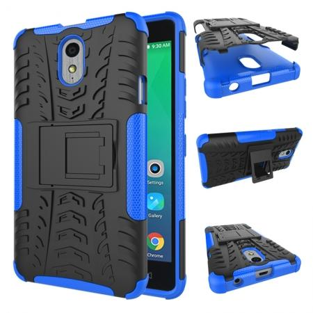 Heavy Duty Protection Rugged Dual Layer Hybrid Shockproof Case For Lenovo P1M - Blue