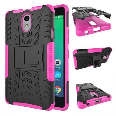 Heavy Duty Protection Rugged Dual Layer Hybrid Shockproof Case For Lenovo P1M - Hot pink