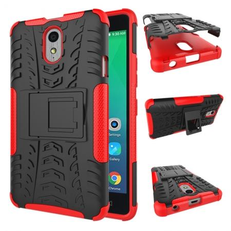 Heavy Duty Protection Rugged Dual Layer Hybrid Shockproof Case For Lenovo P1M - Red