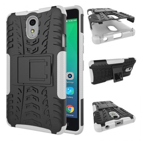Heavy Duty Protection Rugged Dual Layer Hybrid Shockproof Case For Lenovo P1M - White