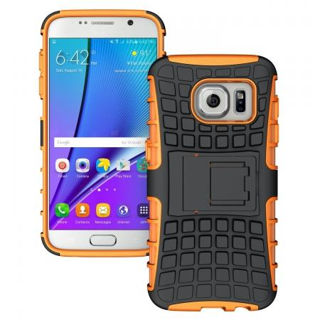Heavy Duty Rugged TPU Impact Kickstand ShockProof Case Cover for Samsung Galaxy S7 - Orange