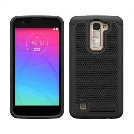 Hybrid Dual Layer Rugged Impact Hard Protective Case Cover For LG K7/M1 - Black