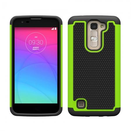 Hybrid Dual Layer Rugged Impact Hard Protective Case Cover For LG K7/M1 - Green