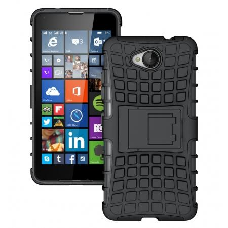 Rugged Dual Layer Shockproof Hybrid Stand Case Cover For Microsoft Lumia 650 - Black