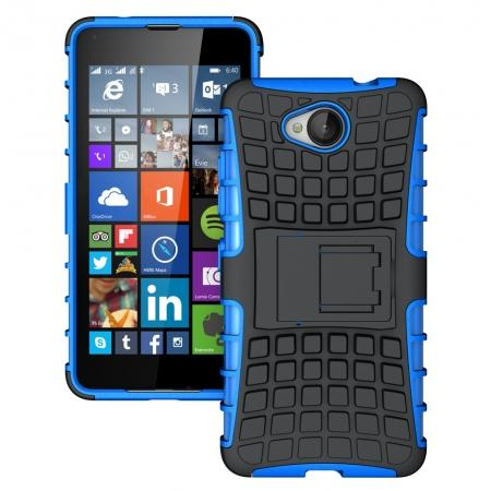 Rugged Dual Layer Shockproof Hybrid Stand Case Cover For Microsoft Lumia 650 - Blue
