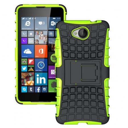 Rugged Dual Layer Shockproof Hybrid Stand Case Cover For Microsoft Lumia 650 - Green