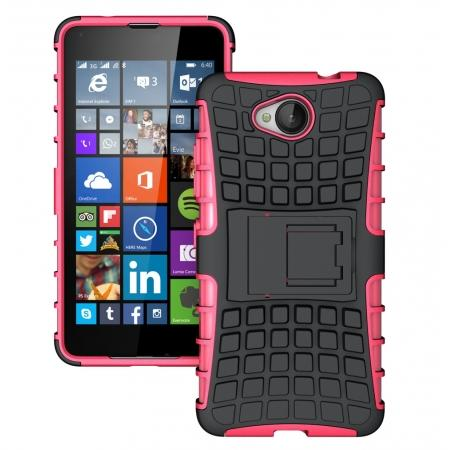 Rugged Dual Layer Shockproof Hybrid Stand Case Cover For Microsoft Lumia 650 - Hot pink