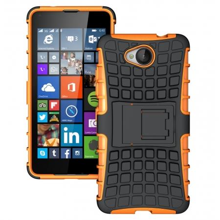 Rugged Dual Layer Shockproof Hybrid Stand Case Cover For Microsoft Lumia 650 - Orange