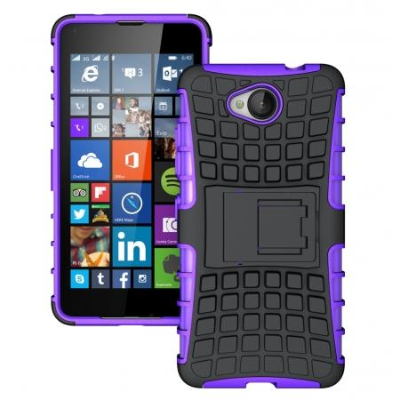 Rugged Dual Layer Shockproof Hybrid Stand Case Cover For Microsoft Lumia 650 - Purple