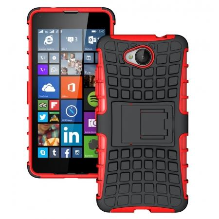 Rugged Dual Layer Shockproof Hybrid Stand Case Cover For Microsoft Lumia 650 - Red