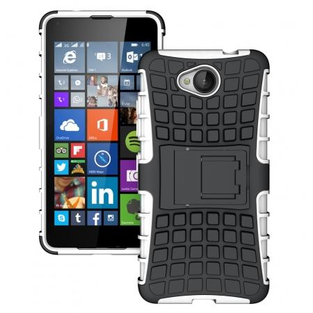 Rugged Dual Layer Shockproof Hybrid Stand Case Cover For Microsoft Lumia 650 - White