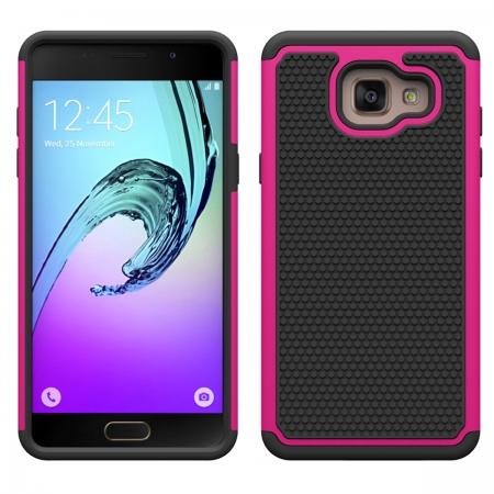 Heavy Duty Dual Layer Shockproof Protective Case For Samsung Galaxy A5(2016) A510  - Hot pink