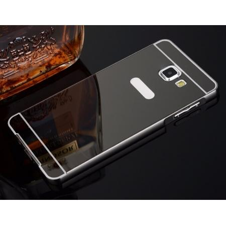 Aluminum Metal Frame Case&Mirror Acrylic Back Cover For Samsung Galaxy A5 (2016) A510 - Black