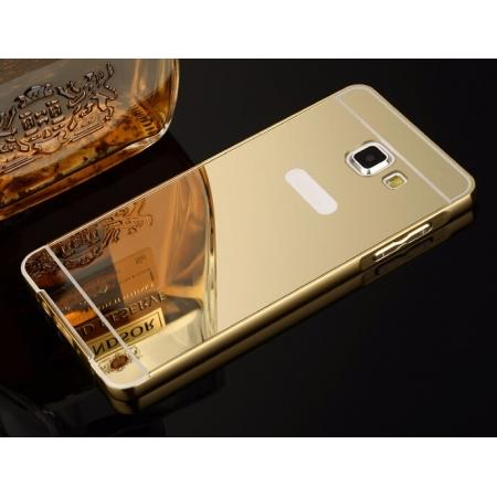 Aluminum Metal Frame Case&Mirror Acrylic Back Cover For Samsung Galaxy A5 (2016) A510 - Gold