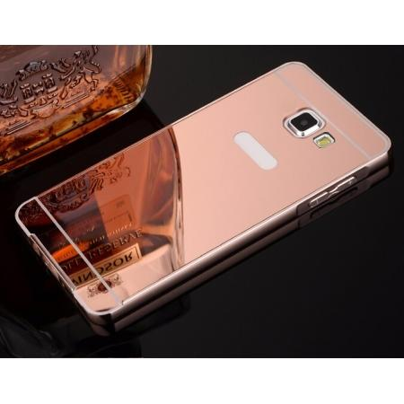 Aluminum Metal Frame Case&Mirror Acrylic Back Cover For Samsung Galaxy A5 (2016) A510 - Rose Gold