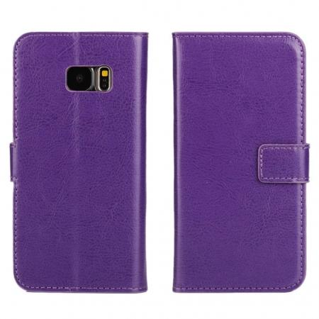 Crazy Horse Wallet Magnetic Flip Stand PU Leather Case For Samsung Galaxy S7 G930 - Purple