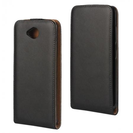 Genuine Real Leather Vertical Flip Case Cover for Microsoft Lumia 650 - Black