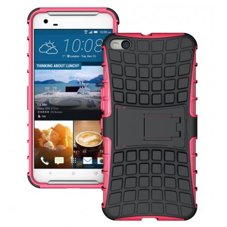 Heavy Duty Dual Layer Hybrid Shockproof Protective Cover Case for HTC One X9 - Hot pink