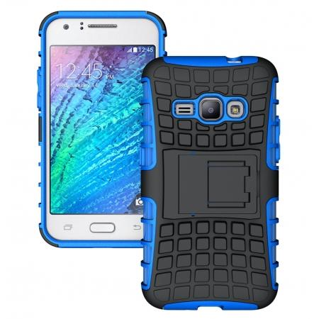Heavy Duty Shockproof Dual Layer Hybrid Stand Cover Case For Samsung Galaxy J1 2016 - Blue