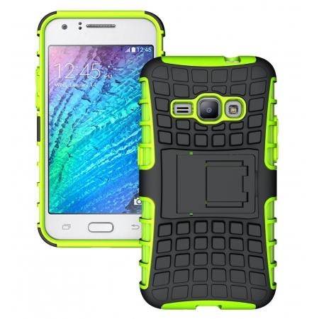 Heavy Duty Shockproof Dual Layer Hybrid Stand Cover Case For Samsung Galaxy J1 2016 - Green
