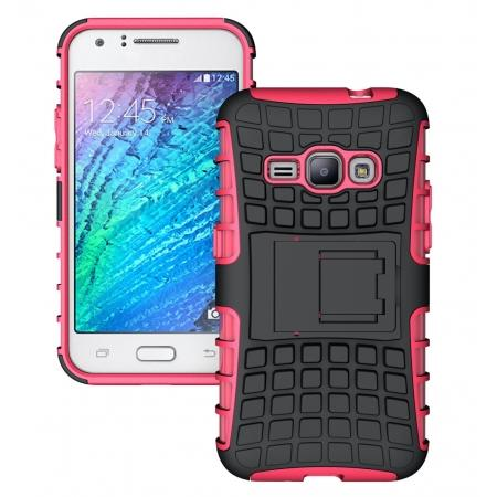 Heavy Duty Shockproof Dual Layer Hybrid Stand Cover Case For Samsung Galaxy J1 2016 - Hot pink