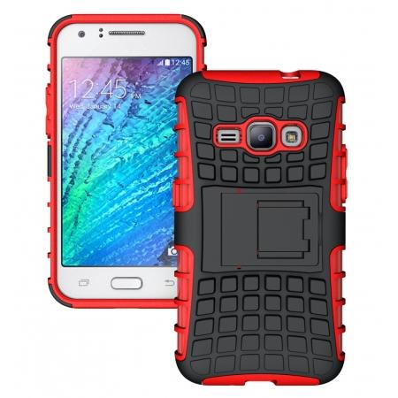 Heavy Duty Shockproof Dual Layer Hybrid Stand Cover Case For Samsung Galaxy J1 2016 - Red