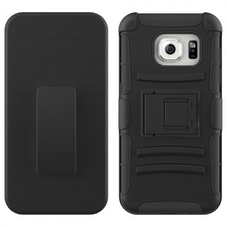 Hybrid Dual Layer Armor Case w/ Belt Clip Holster Shell For Samsung Galaxy S7 Edge - Black