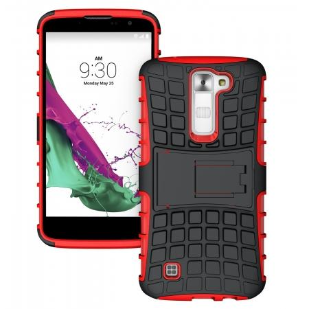 Hybrid Dual Layer Shockproof Armor Stand Defender Case For LG K7/Tribute 5 - Red