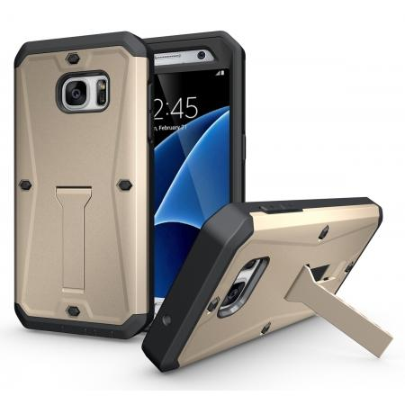 Hybrid Rugged Armor Shockproof protection Cover Case For Samsung Galaxy S7 - Gold
