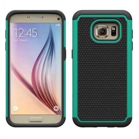Hybrid Shockproof Rugged Matte Protective Case Cover For Samsung Galaxy S7 - Cyan