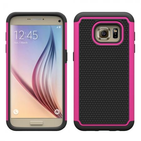 Hybrid Shockproof Rugged Matte Protective Case Cover For Samsung Galaxy S7 - Hot pink