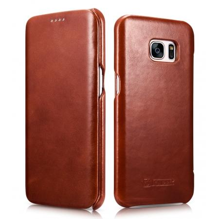 ICARER Vintage Classic Series Genuine Leather Flip Case For Samsung Galaxy S7 Edge - Brown