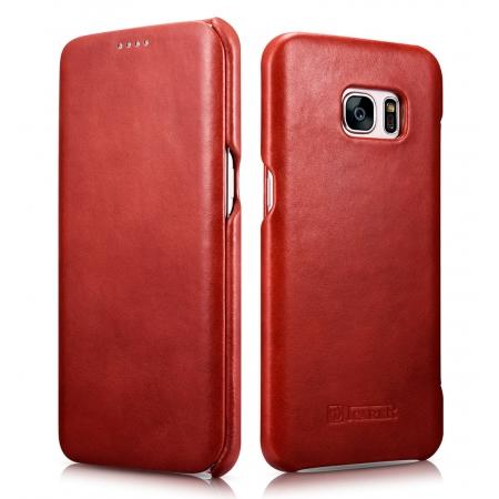 ICARER Vintage Classic Series Genuine Leather Flip Case For Samsung Galaxy S7 Edge - Red