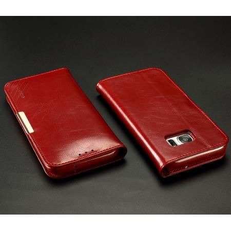 KLD 100% Real Genuine Leather Flip Stand Case For Samsung Galaxy S7 Edge With Card Slots - Wine Red