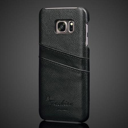 Litchi Pattern Genuine Leather Back Cover Case with 2 Card Slots for Samsung Galaxy S7 G930 - Black