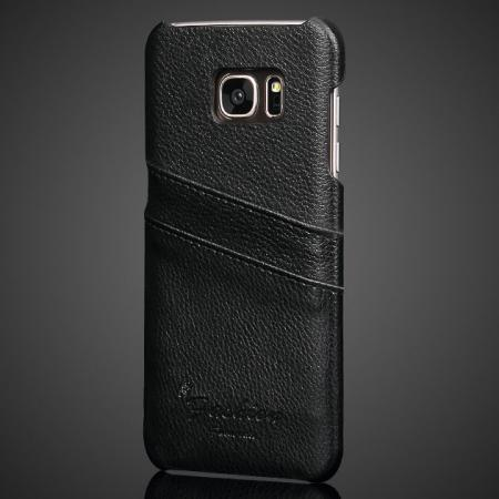 Litchi Skins Real Genuine Leather Back Card Slots Case For Samsung Galaxy S7 Edge G935 - Black