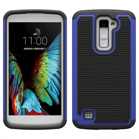 Rugged Hybrid Dual Layer Shockproof Protective Case Cover For LG K10 - Dark blue