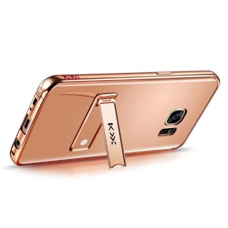 Aluminum Metal Bumper + Acrylic Mirror Case with Stand for Samsung Galaxy S7 - Rose Gold