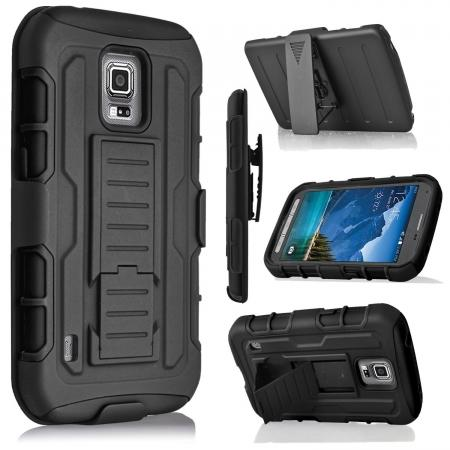 Black Rugged Armor Hybrid Case w/ Belt Clip Holster for Samsung Galaxy S5 Active G870