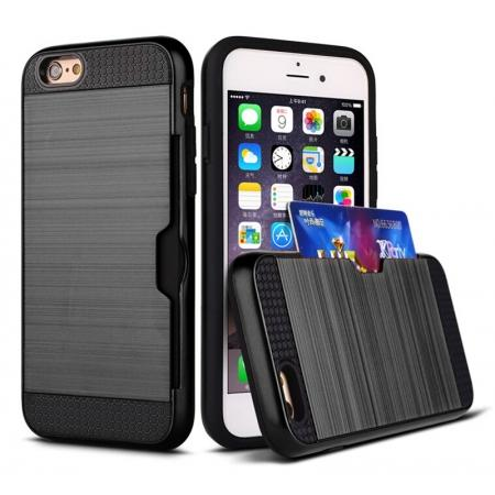 Brushed Armor Hybrid Card Slot Shockproof Dual Layer Protective Case for iPhone 6/6S - Black